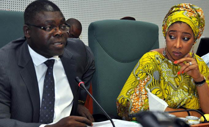 From left: Chairman, House of Representatives Committee on Ethics and privilege, Hon. Osai Nicolas Osai, and Chairman House of Representatives Committee on Foreign Affairs, Hon. Nnena Ukeje addressing during an investigative hearing of an alleged sexual misconduct Members of House of Representatives by the United of America Ambassador to Nigeria at the National Assembly in Abuja, Yesterday.