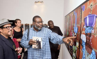 •LEFT), Palacios with guests at the opening of Save The Date, at Omenka Gallery, Ikoyi, Lagos