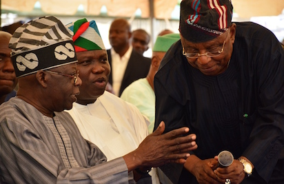 Lagos State Governor, Mr. Akinwunmi Ambode (2nd left), with National Leader, All Progressives Congress (APC), Asiwaju Bola Tinubu; Chairman, APC Lagos State, Otunba Henry Ajomale and former Lagos State Deputy Governor, Prince Abiodun Ogunleye during a meeting with the Party Members at the Party Secretariat, Acme Road, Ogba, Lagos on Friday,