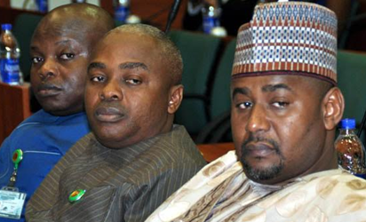 From left: The three alleged sexual misconduct Members of House of Representatives, Hon. Mike Gbella, Hon. Sammuel Ikon and Hon. Garba Gololo, during an investigative hearing of an alleged sexual misconduct Members of House of Representatives by the United of America Ambassador to Nigeria at the National Assembly in Abuja, Thursday. Photo by Gbemiga Olamikan