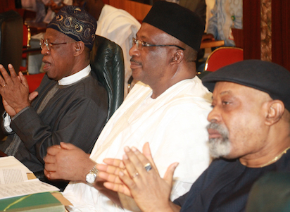 Minister of Information, Alhaji Lai Mohammed; Minister for Interior, Gen. Abdulrahman Danbazzau and the Labour and Productivity Minister, Senator Chris Ngige at the meeting of the Federal  Executive Council at the Aso Chambers, State House, Abuja. Photo by Abayomi Adeshida