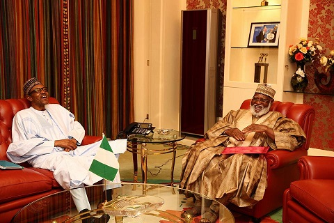 President Buhari receives General (Rted) Abdulsalam Abubakar, Former Head of State at the Statehouse on 18th AUgust 2016