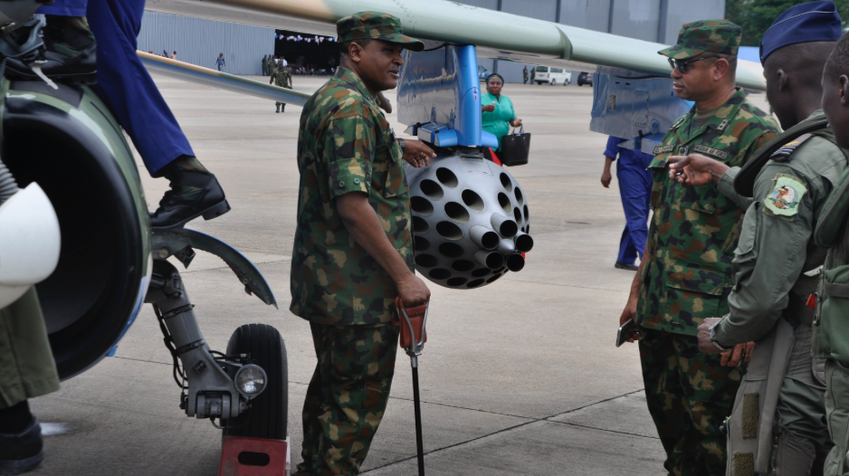 The Chief of the Air Staff, Air  Mshl Sadique Abubakar inspecting the newly weaponized NAF alpha jet after test.