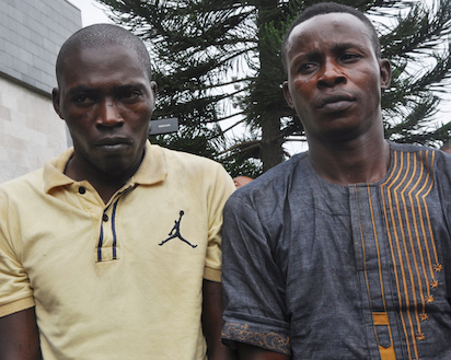 From left: Toba Foreje and Isaiah Ofodomu, suspected kidnappers of Oba Goriola Oseni, Oniba of Iba-land in Iba Local Council Development Area[LCDA] paraded by Lagos state Governor and Commissioner of Police at Lagos House, Ikeja, yesterday. Photo: Bunmi Azeez