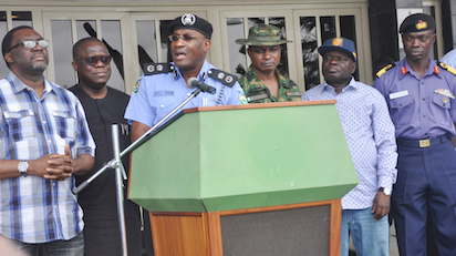 From left: Mr. Steve Ayorinde, Commissioner of Information and Strategy, Mr. Adeniji Kazeem, Antony-General and Commissioner of Justice, Mr. Fatai Owoseni, Commissioner of Police, Brig-Gen. Sanni Moahmmed, Commander 9 Brigade, Ikeja, Mr. Olukule Ojo, Chief of Staff to Governor Ambode and Commodore, Abraham Adaji, Commander Nigeria Navy Ship Becroft  Apapa, at press briefing on the suspected Kidnapper of Oba Goriola Oseni, Oni of Iba-land in Iba Local Council Development Area[LCDA] at Lagos House, Ikeja Photo: Bunmi Azeez