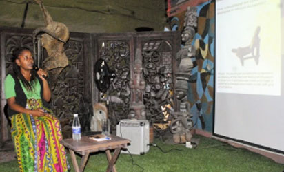 •Lydia Galavu, Curator of Contemporary Art at the National Museums of Kenya during her presentation at OYASAF