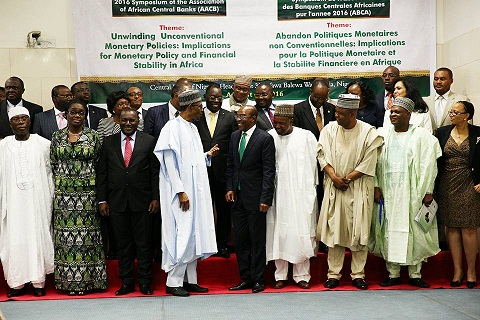President Buhari with R-L: Vice Chairman of AACB and Governor Central Bank of Nigeria Mr Godwin Emefiele, Chairman, Association of African Central Banks (AACB) Mr Lucas Abaga Nchama, Chairman, Senate committee on banking, insurance and other financial institutions, Senator Rafiu Ibrahim, Minister of Finance Mrs Kemi Adeosun and Kebbi State Governor H.E. Atiku Bagudu and other participants