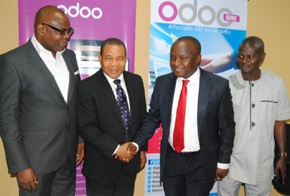 LAUNCH — From left: MD, Demarach Ltd, Bola Olayinka, Chairman, MattO'Bell Ltd, Pastor Ademola Malumi, MD/CEO, Matt O' Bell Ltd, Dare Ojo-Bello and ED, Fort Kelly Nig. Ltd, Bayo Bakare, during the launch of MattO'Bell's flagship ERP solution, OdooSME in Nigeria, held at NECA House, Alausa, Ikeja Lagos recently.