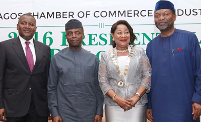 Aliko Dangote GCON Chairman of the Occasion & President, Dangote Group, Vice President Prof. Yemi Osinbajo SAN, Dr. Mrs. Nike Akande CON President, Lagos Chamber of Commerce & Industry and Sen. Udo Udo Udoma Minister of Budget & National Planning at the LCCI 2016 Presidential Policy Dialogue Session at the Eko Hotel & Suites, Victoria Island Lagos