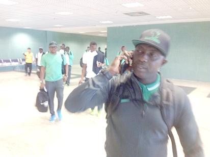 Nigerian Olympic Football Team led by Coach Samson Siasia, arriving Manaus, on Thursday.
