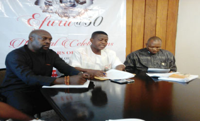 • From left; Barr. Uzoma Nwakauche, Chairman Flora Nwapa Foundation,  Dr Wale Okediran,  Chairman, National Organising Committee and Prince Paschal N. Mebuge-Obaa 11, event planner, co-ordinator and promoter of Efuru@50. (INSET) The book and the author.