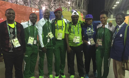 Solomon Dalung  and some Nigerian athletes at Rio 2016 Olympics Photo Funke-Oshonaike