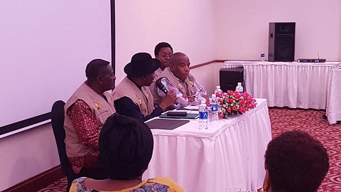 Goodluck Jonathan meets other 56 AU Elections Observer team members in Zambia for a brief introduction and orientation.