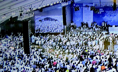 •Some of the participants in the main marquee at the Hadeeqatul Mahdi.