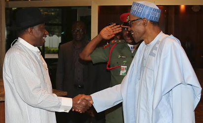 President Muhammadu Buhari bids farewell to the former President Dr Goodluck Ebele Jonathan after a close door meeting at the State House in Abuja