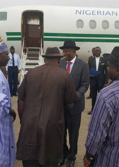 Former President Goodluck Jonathan leaving Nigeria for Zambia, where he's billed to lead the African Union Elections Observer