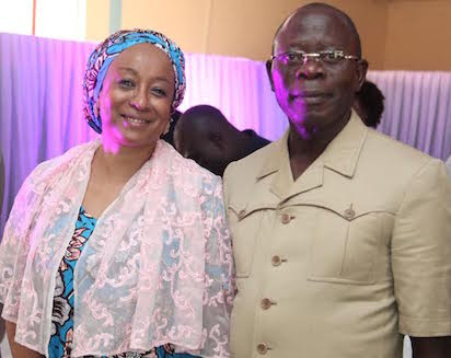 Governor Adams Oshiomhole of Edo State and Mrs. Mariam Uwais, Special Adviser to the President on Federal Government Social Investments at a Stakeholders Sensitisation workshop on Job Creation, School Feeding Programme, Micro-Credit and Bursary to Students in Benin City, yesterday.