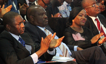 L-R Attornery-General and Minister of Justice, Abubakar Malami; Rivers State Governor, Nyesom Wike, his Wife Justice Suzzeth Wike and President of the Nigerian Bar Association, Augustine Alegeh during the Opening ceremony of the 56th Annual General Conference of the Nigerian Bar Association Sunday in Port Harcourt. Photo: Nwankpa Chijioke