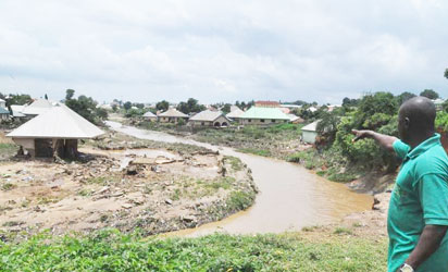 Many houses were submerged by the flood  at Ado, Karu Local Government of Nasarawa State.