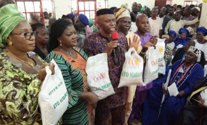 Ondo State Governor, Olusegun Mimiko (3rd left), at he laucnh of the Eto Igbe Ayo programme.