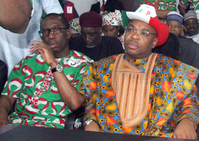 L-R: Governors Ifeanyi Okowa (Delta State) and Udom Emmanuel (Akwa-Ibom State) during the PDP National Convention in Port Harcourt, Wednesday. Photo: Nwankpa Chijioke