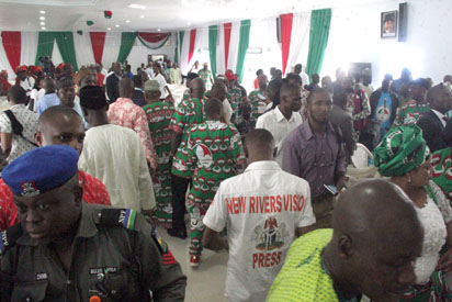 A Cross section of delegates during the PDP National Convention in Port Harcourt, Wednesday. Photo: Nwankpa Chijioke