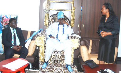 • VISIT: From left: Medical Director, Pfizer Nigeria and East Africa Region, Dr Kodjo Soroh; Oba of Lagos, Oba Rilwan Akiolu and Director, Corporate Affairs, Pfizer Nigeria and East Africa Region, Mrs Margaret Olele during the courtesy visit by Pfizer to the Oba at his palace last week in Lagos.