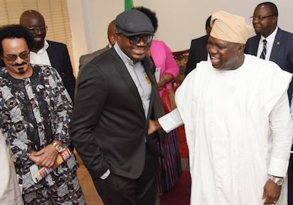 Lagos State Governor, Mr. Akinwunmi Ambode with Jimmy Amu a.ka. Dj Jimmy Jatt and Nigerian Flurist, Dr. Tee Mac Omatshola Iseli during a courtesy visit by Officials of African Union, International Committee of AFRIMA Executives and its 2014 & 2015 Award Winners at the Lagos House, Ikeja, recently.