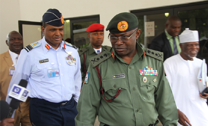 SECURITY—From left: Chief of Air Staff, Air Marshal Sadique Abubakar; Chief of Defence Staff, General Gabriel  Olonishakin and the Comptroller General of Customs,  Col Hamid Ali;  departing after a closed door security meeting with President Muhammadu Buhari  at the State House, Abuja, yesterday. Photo: Abayomi Adeshida.