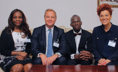 Adetutu Otuyalo, Corporate Sales Manager, British Airways Nigeria Rt. Hon. Mark Simmonds, Deputy Chair of Commonwealth Investment Council and Privy to Queen of UK Dr Alim Abubakre, CEO, TEXEM, UK Prof Rodria Laline, Visiting Professor, Harvard, Insead and IESE At British Deputy High Commissioner's Residence during TEXEM's Executive Master class on the 11th of August in Lagos.