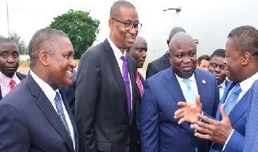 R-L: Lagos State Governor, Akinwunmi Ambode (2nd right), with President of Togo, Mr. Faure Gnassingbe; Minister of Trade, Investment & Industry, Mr. Okechukwu Enelamah and President, Dangote Group, Alhaji Aliko Dangote during the visit of the Togolese President to the Dangote Refinery at the Lekki Free Trade Zone, Lekki, Lagos