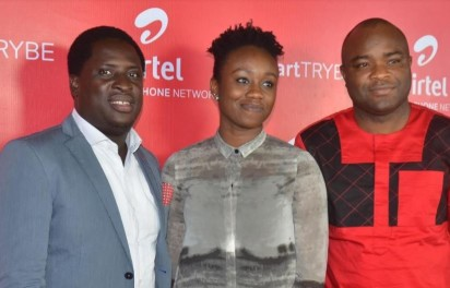 L-R, Communications Manager, Erhumu Bayagbon; Head, Youth Segment, Omoyeme Effiong and Vice President, Network Operations, Adedoyin Adeola, all of Airtel Nigeria, at the Smart Trybe Party held at Victoria Island, Lagos on Friday.