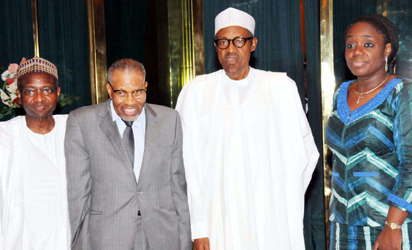 MEETING: From left, Vice President, Operations, Islamic Development Bank, Dr. Mansur Mukhtar;  President, Islamic Development Bank Group, Dr. Ahmad Ali-Madani; President Muhammadu Buhari and  Finance Minister, Mrs. Kemi Adeosun  ,  during a meeting with the bank officials at State House, Abuja, yesterday. Photo: Abayomi Adeshida.