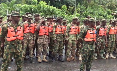 Nigerian army training for operation crocodile smile in Delta