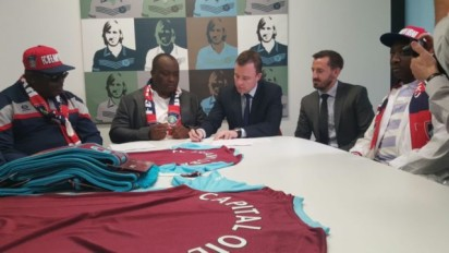 Proprietor, FC Ifeanyi Ubah, Dr. Patrick Ifeanyi Ubah and representatives of West Ham United during the signing of the deal on Friday, August 19, 2016, in London