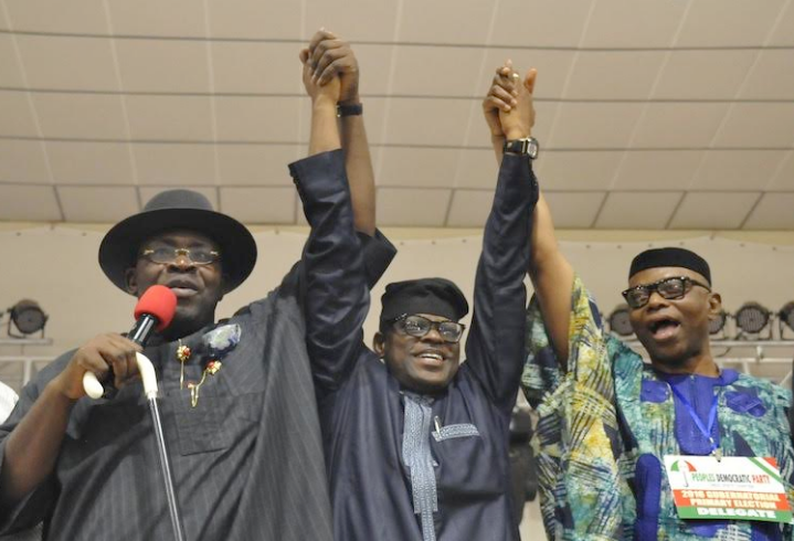 From left:Chairman of the PDP Primary Election Committee for Ondo State,  the Governor of Bayelsa State, Seriake Dickson;