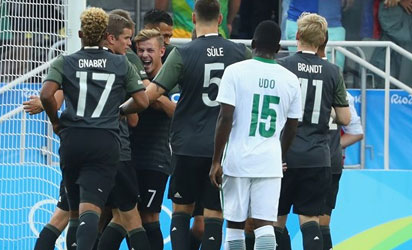 Lukas Klostermann of Germany celebrates with team mates after scoring a goal during the Men's Football Semi Final between Nigeria and Germany on Day 12 of the Rio 2016 Olympic Games at Arena Corinthians on August 17, 2016 in Sao Paulo, Brazil. (Photo by Robert Cianflone - FIFA