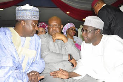 FROM LEFT: FORMER GOVERNOR OF KADUNA STATE, MUKRTAR YERO; FORMER PDP NATIONAL PUBLICITY SECRETARY, CHIEF JOHN ODEY AND FORMER SPECIAL ADVISER TO THE PRESIDENT ON POLITICAL AFFAIRS, DR AKILU INDABAWA, AT THE INAUGURATION OF PDP NATIONAL CONVENTION COMMITTEE IN ABUJA ON FRIDAY