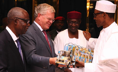 President Buhari with Chief of Staff Abba Kyari, Friesland Campina Global CEO Mr Roelof Joosten and Chairman Friesland Campina Wamco Nigeria Mr Jacobs Moyo Ajekigbe as he receives briefing from the Global CEO Friesland Campina Netherlands Mr Roelof Joosten in Statehouse on 9th August 2016