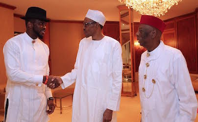 President Buhari with HRM King G.N.K. Gininwa (JP) OFR and Former Super Eagles Captain Joseph Yobo as he receives in audience HRM King G.N.K. Gininwa (JP) OFR, Gbenemene Tai Kingdom, President Supreme Council of Ogoni Traditional Rulers in Statehouse on 11th August 2016