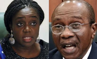 Minister of Finance, Mrs. Kemi Adeosun and  Governor of the CBN, Mr.Godwin Emefiele,