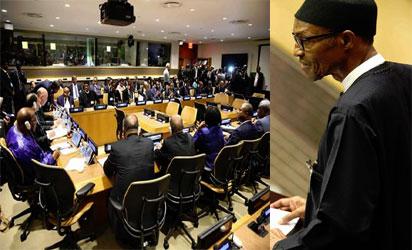 Buhari addressing members at UNGA