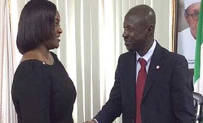 •Ag. Chairman of EFCC, Ibrahim Magu, receiving the DG of PenCom, Mrs. Chinelo Anohu-Amazu, during PenCom's working visit to the EFCC for collaboration on enforcement and compliance