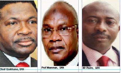 L-R: Chief Ozekhome,SAN, Prof Mamman, SAN & Mr Pedro, SAN