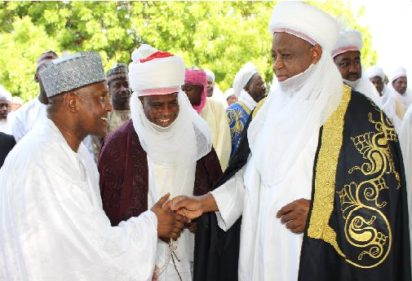 SALLAH CELEBRATION: From left; Alhaji Aliko Dangote; Governor Aminu Waziri Tambuwal of Sokoto State and Sultan Muhammad Sa'ad at Sokoto Central Eid ground after the Eid prayers, yesterday.