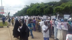 Shi'ites protesting in Abuja, demanding the release of their leader, Sheik El-Zakzaky