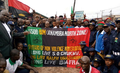 Members of the Movement for the Survival of the Sovereign State of Biafra (MASSOB) during their rally to mark the 17th anniversary of the movement, yesterday, in Awka, Anambra State.