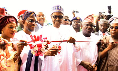 President Muhammadu Buhari (middle), with Lagos State Governor, Mr. Akinwunmi Ambode (2nd  right), his Borno State counterpart, Governor Ibrahim Shettima (right); Osun State Governor, Ogbeni Rauf Aregbesola (2nd left) and his Wife, Sherifat (left) during the Commissioning of Government High School, Osogbo in commemoration of Osun State 25th Anniversary, on Thursday, September 1, 2016
