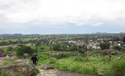Top of rock said to be the epicentre of the vibration in Kwoi.