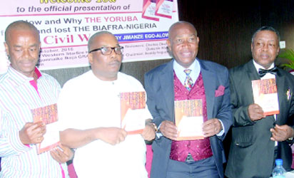 • L-R: The author, Jimanze Ego Alowes, Eric Osagie, Mr Ugochukwu Muotto, Chairman of the occasion and Barr. Goddy Uwazurike during the book presentation